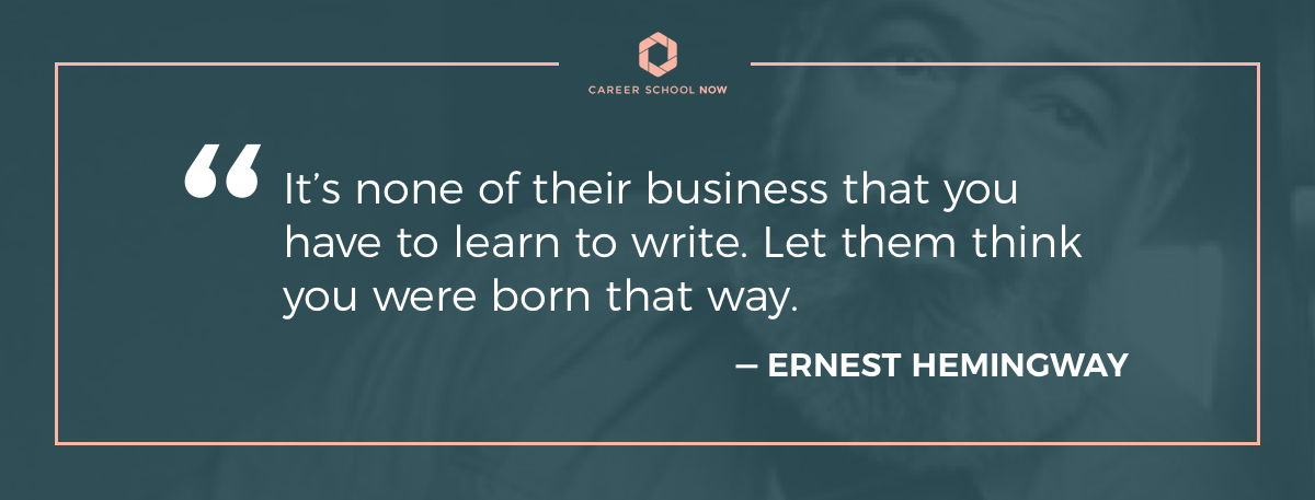 Hemingway quote-Become a technical writer article