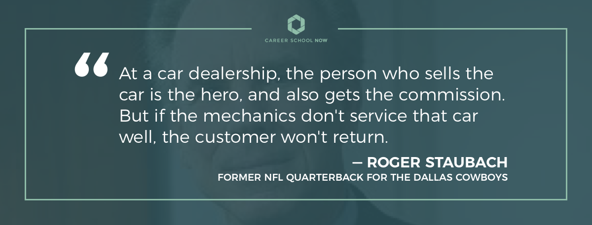 Robert Staubach quote-information on how to become a licensed mechanic